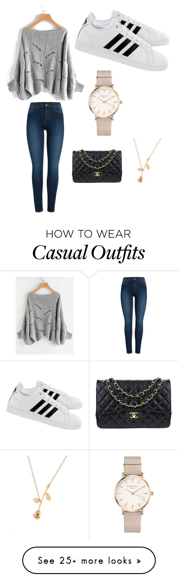 """Casual yet boujee"" by amber-doyle-i on Polyvore featuring Pieces, adidas, ROSEFIELD and Chanel"