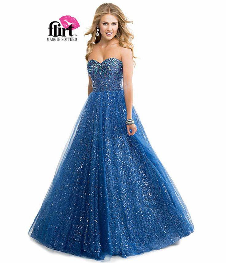 Flirt by Maggie Sottero 2014 Prom Dresses - Deep Indigo Beaded Sequin Tulle Ball Gown - Unique Vintage - Prom dresses, retro dresses, retro swimsuits.