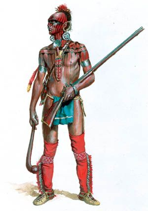 Shawnee Indian warrior in 1700s