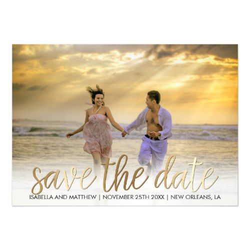 Customizable Photo | Bronze Save The Date Magnetic Card