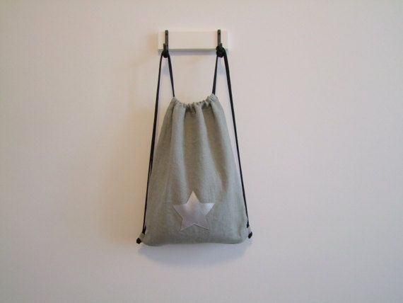 Linen gym bag gray silver star with cotton lining 30 x40 cm