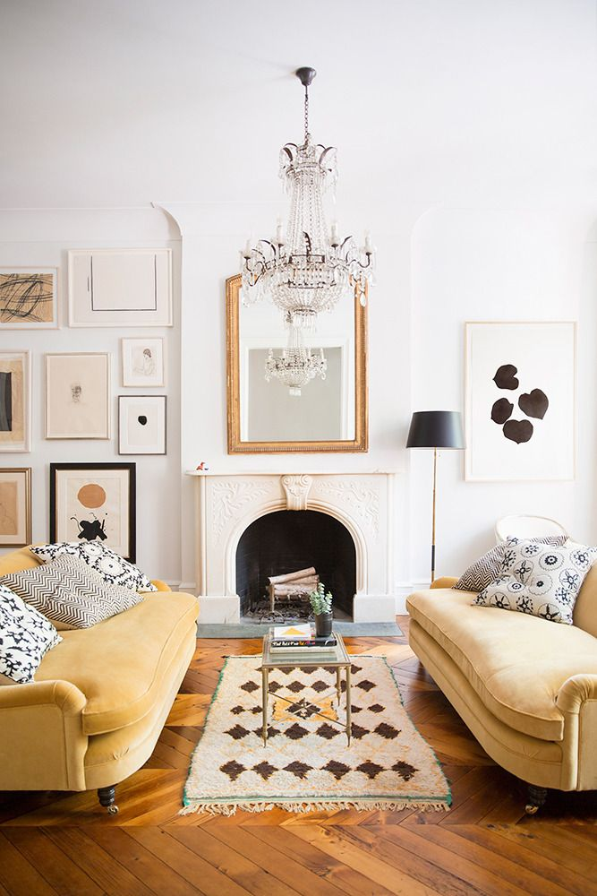 Ali Cayne West Village Townhouse Living Room With Mustard Yellow Velvet Sofas Gold Mirror And Moroccan Rug On Thou Swell
