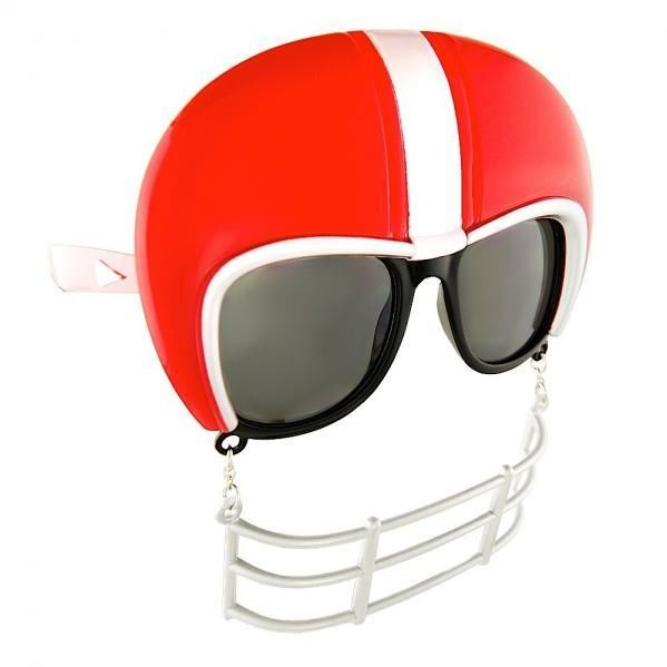 ONE RED AND WHITE  NOVELTY FOOTBALL SUNGLASSES FROM NOVELTY SUNGLASSES.COM #noveltysunglassescom