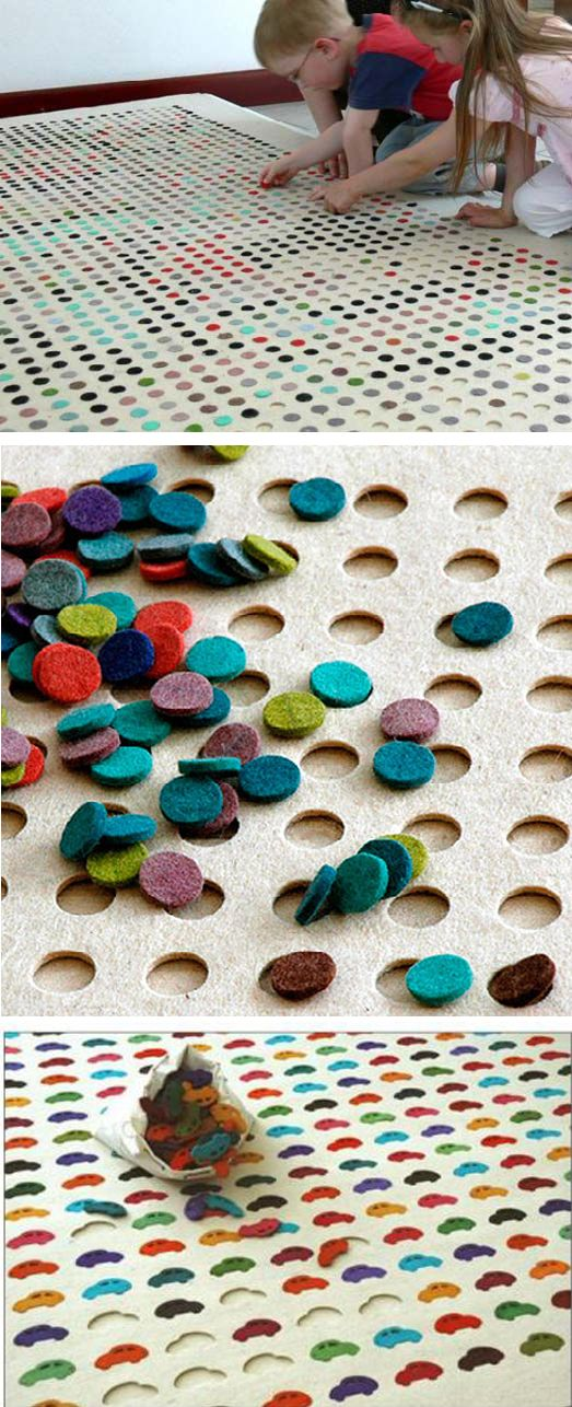 Colorful puzzle rug. Hours of entertainment for older kids.