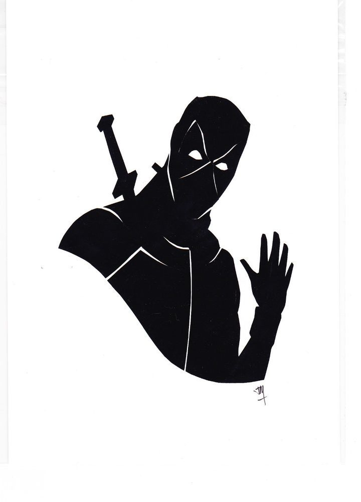 Marvel Deadpool Silhouettes Original Papercut Not Olly