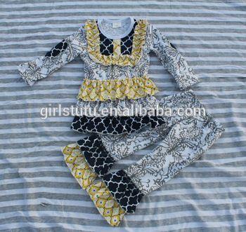Bulk Wholesale Newest Arrival Design Black White Danask Quatrefoil Posh Unique Stylish Baby Clothes Baby Clothing Sets