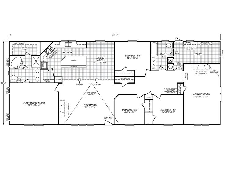 Blue ribbon mobile homes inc eagle 32764c fleetwood for 4 bedroom floor plans with bonus room