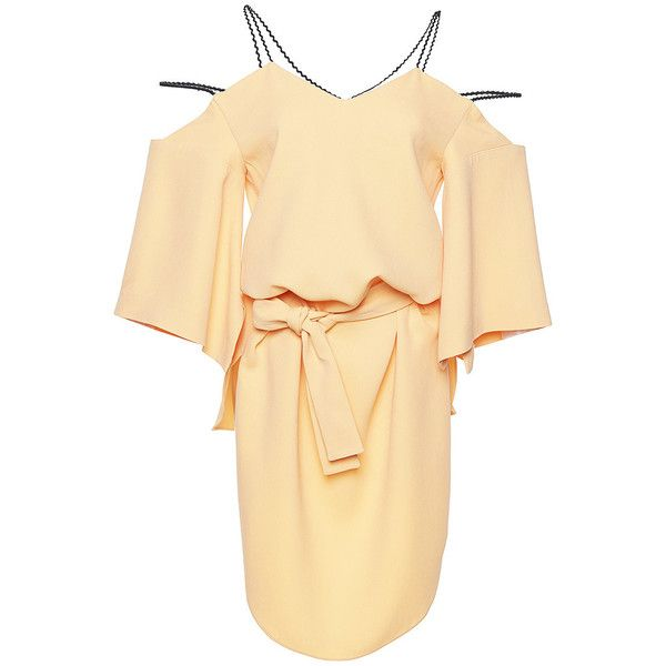 Roland Mouret     Conway Stretch Double Crepe Top ($1,330) ❤ liked on Polyvore featuring tops, orange, stretchy tops, off the shoulder tops, orange top, roland mouret and stretchy waist belt