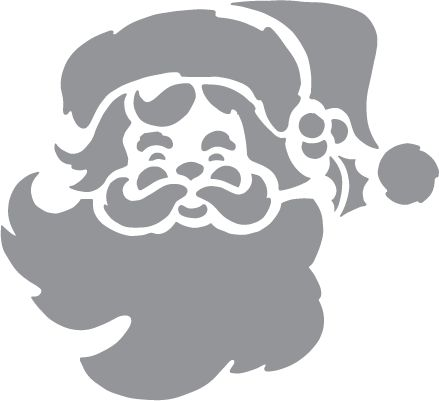 Glass etching stencil of Santa Claus. In category: Christmas