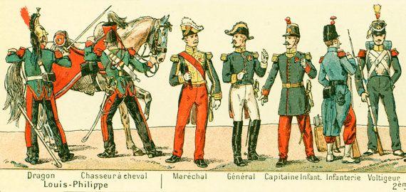 1897 Costumes Militaires Napoleon Grenadier Empire Dragon Histoire Mode Nouveau Larousse illustré Grand Format Illustration 115 ans d'âge