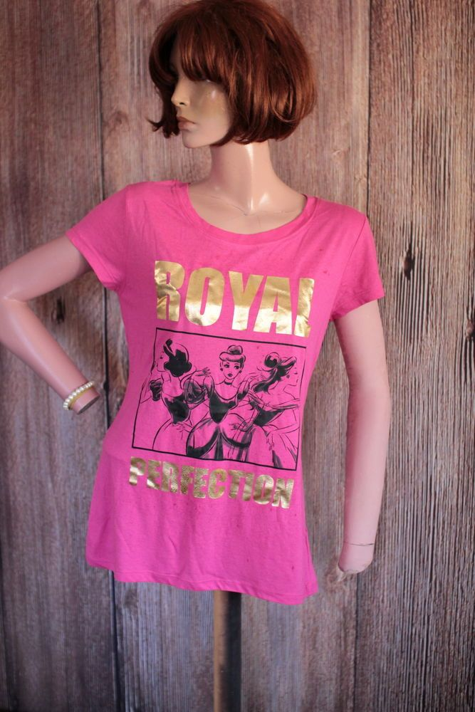 Disney Royal Perfection Pink Women's Tee Shirt with Gold Lettering XL AA10 #Disney #GraphicTee