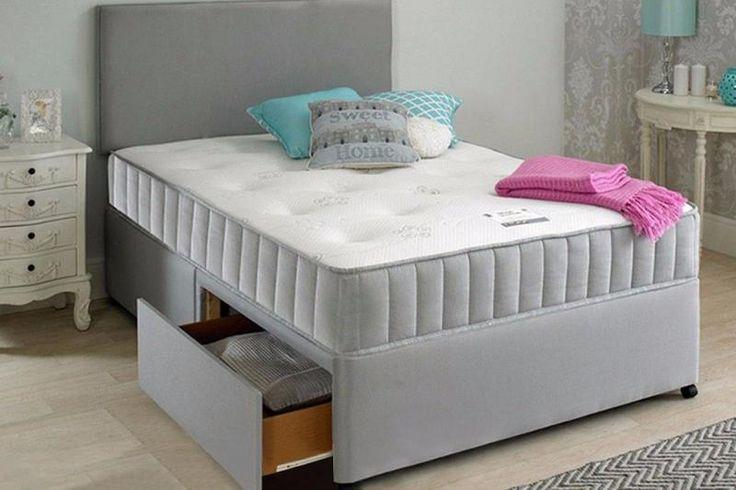 Divan Fabric Bed & Headbord Size 3FT, 4FT6 Double, 5FT Pocket Memory Foam Mattress - Grey