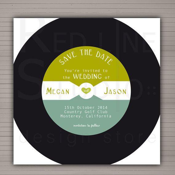 Save the date - Partecipazioni nozze tema musica - disegno disco