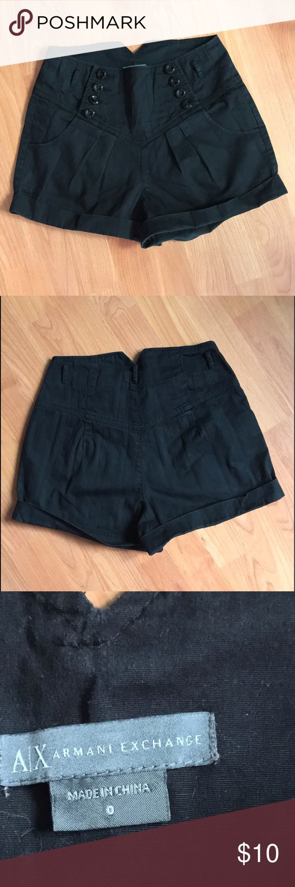 ARMANI EXCHANGE :|Women's Buttoned Shorts. Size:0. Brand:A/X ARMANI EXCHANGE. Women's Black Buttoned Shorts. Vintage-inspired with a nautical flair. Cute shorts to wear with a crop top. Perfect condition. Minimal signs of normal wear. No flaw/defect/filter. Size:0. A/X Armani Exchange Shorts