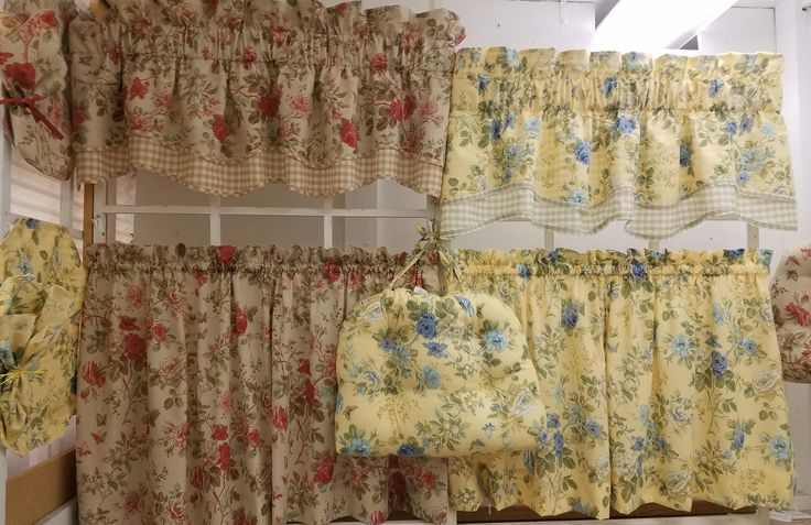 Charlotte Double Scallop Valance with matching tiers, place mats, napkins and chair pads.Scallop Valance is 56x15 @$24.99 available in Yellow and Brick.To Order Call toll-free 877-722-1100