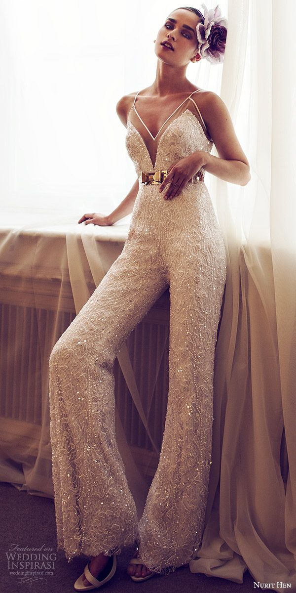 nurit hen 2016 bridal sleeveless sweetheart spaghetti strap jumpsuit wedding dress (09) mv glam
