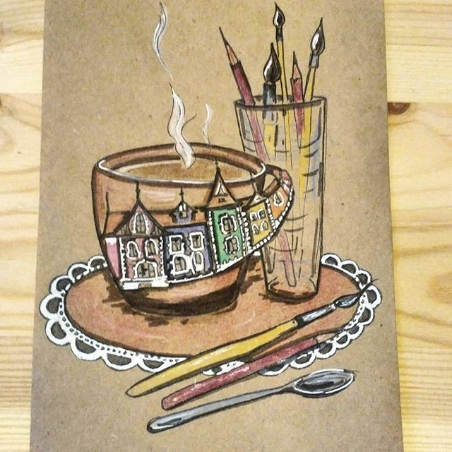 Ещё одна вариация утреннего #кофе. Теперь вечерами разглядываю #викторианскиедомики. Доброе утро!  #утро #coffee #coffeetime #morning #sketch #sketchbook #art #artbook #paint #painting #drawing #draw #рисуноккарандашом #рисунок #скетчбук #скетч #акварельныекарандаши #домики