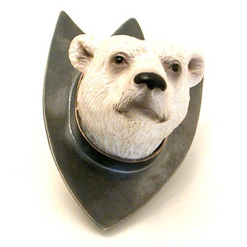 Polar Bear  Mounted animal brooch in oxidized sterling silver and plastic.