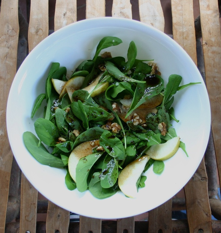 First salad of Spring! Rocket so fresh it is squealing, pear, walnuts and balsamic dressing. Heaven!