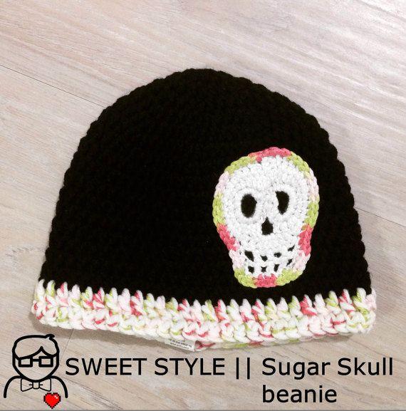 Sugar Skull beanie hat by TheSweetestGeekShop (AU$40 + postage)