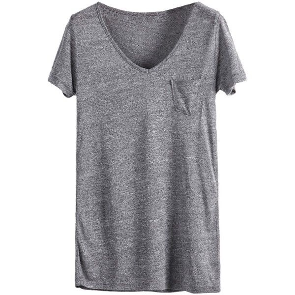 Sheinside Women's Grey V Neck Short Sleeve Pocket Loose T-shirt ($13) ❤ liked on Polyvore featuring tops, t-shirts, shirts, grey t shirt, vneck t shirts, short sleeve shirts, v neck pocket t shirt and loose fit t shirts
