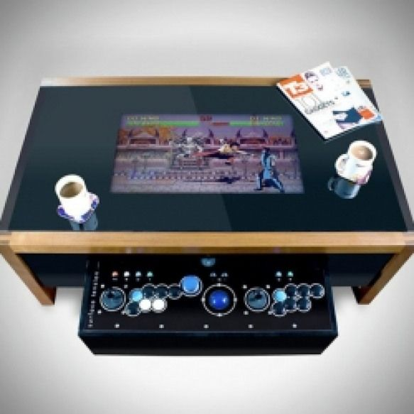 Wooden Arcade Coffee Table Beautifully Crafted Wooden Coffee Table Equipped With Built Retro Video Game Entertainment System Arcade Table Arcade Retro Arcade