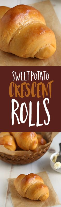 Soft and fluffy crescent rolls recipe brimming with the cozy flavor combination of sweet potato and nutmeg, and smothered with honey butter.