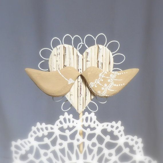 Rustic Wedding Topper, Wood Love Birds Wedding Cake Topper With a Twig Heart, , Tan and Ivory