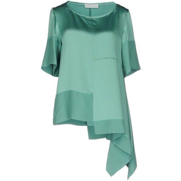 Stefania Lunardon Blouse ($365) ❤ liked on Polyvore featuring tops, blouses, green, short sleeve blouse, round collar blouse, green top, short-sleeve blouse and short sleeve tops