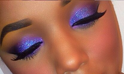 Purple Shadow Blue Glitter Makeup Tutorial by Ellarie. youtube.com/watch?v=YOew1LxQrfs&feature=youtu.be