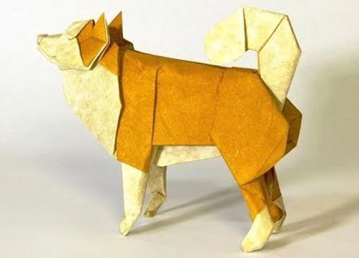 折纸狗大全之折纸牧羊犬手工折纸视频折法教程