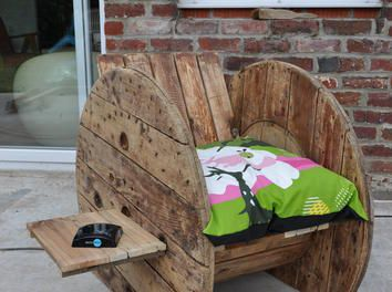 Fauteuil touret  canapé palette,fauteuil touret,bobine de chantier