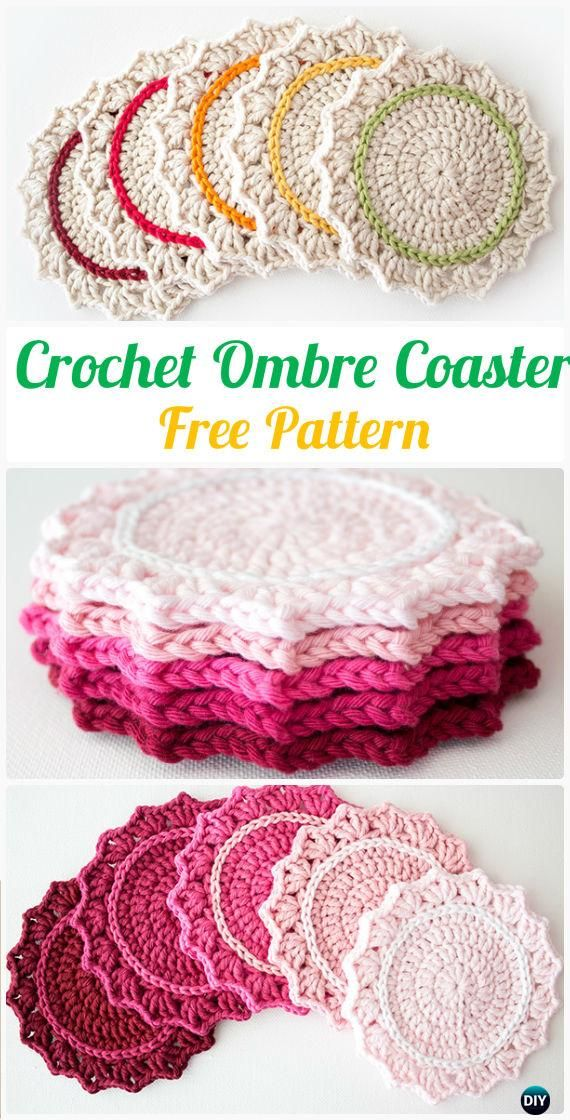 Crochet Ombre Coaster Free Pattern - #Crochet; Coasters Free Patterns