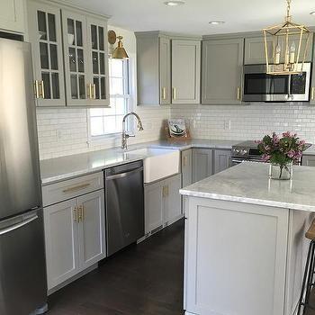 Gray Kitchen with Blanco Cerano Sink and Brizo Artesso Faucet