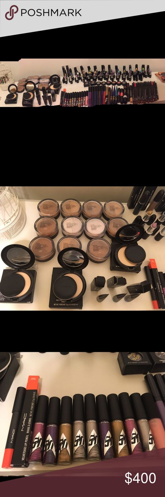 MAC lot 129 pieces of makeup All are authentic MAC Lip liners, pressed powders, loose powders, lipstick, some 2017 spring collections, kabuki magic paint, glosses, lip stains, eye shadows, etc. there are approximately 129 pieces of makeup MAC Cosmetics Makeup Face Powder