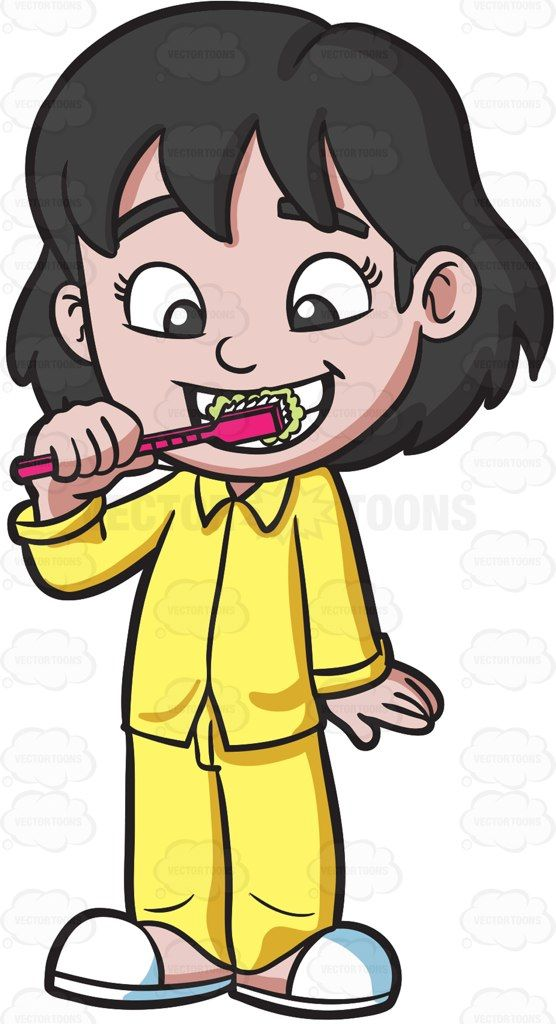 An adorable girl brushing her teeth before bedtime #cartoon #clipart #vector #vectortoons #stockimage #stockart #art