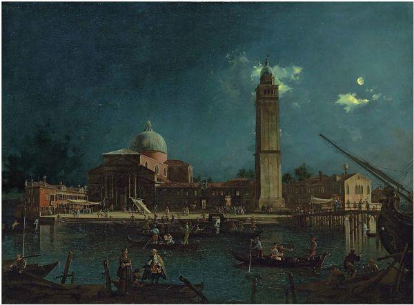 Giovanni Anton Canal, il Canaletto (Venice 1697-1768) A night festival at San Pietro di Castello, Venice oil on canvas: 35½ x 58½ in. (97.7 x 130.3 cm.)