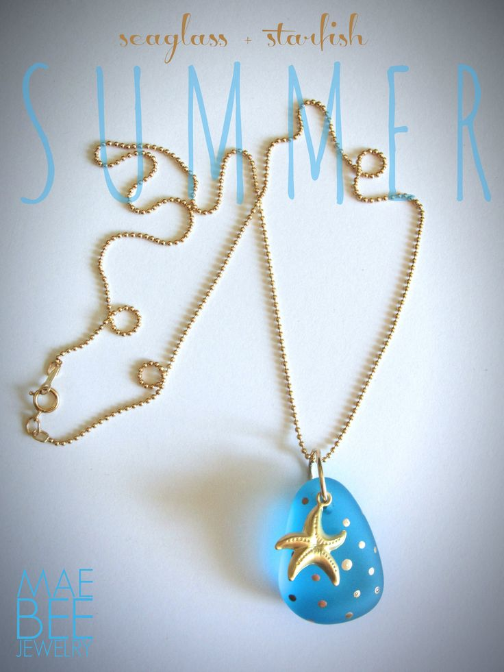 New Seaglass and gold starfish necklace...hanging on to summer! www.jewelrybymaebee.etsy.com