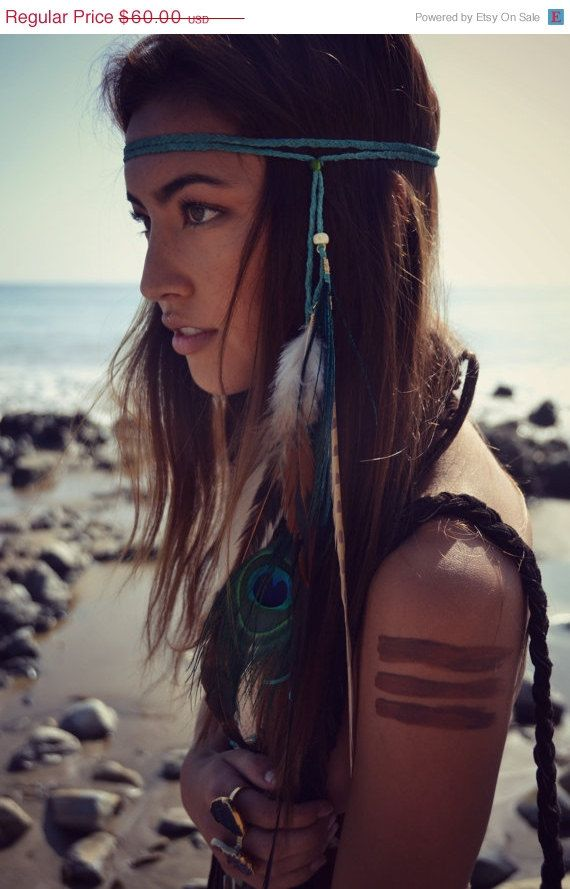 DIY boho feather hairpiece