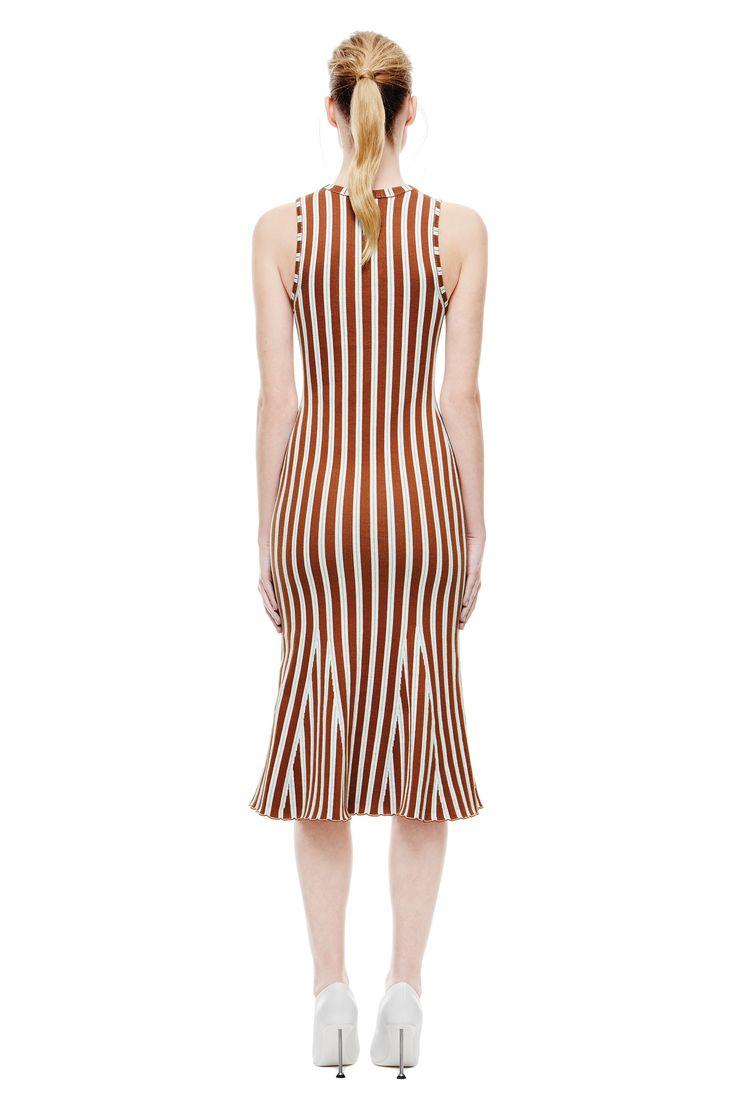Wide Stripe Intarsia Fitted Kick Dress