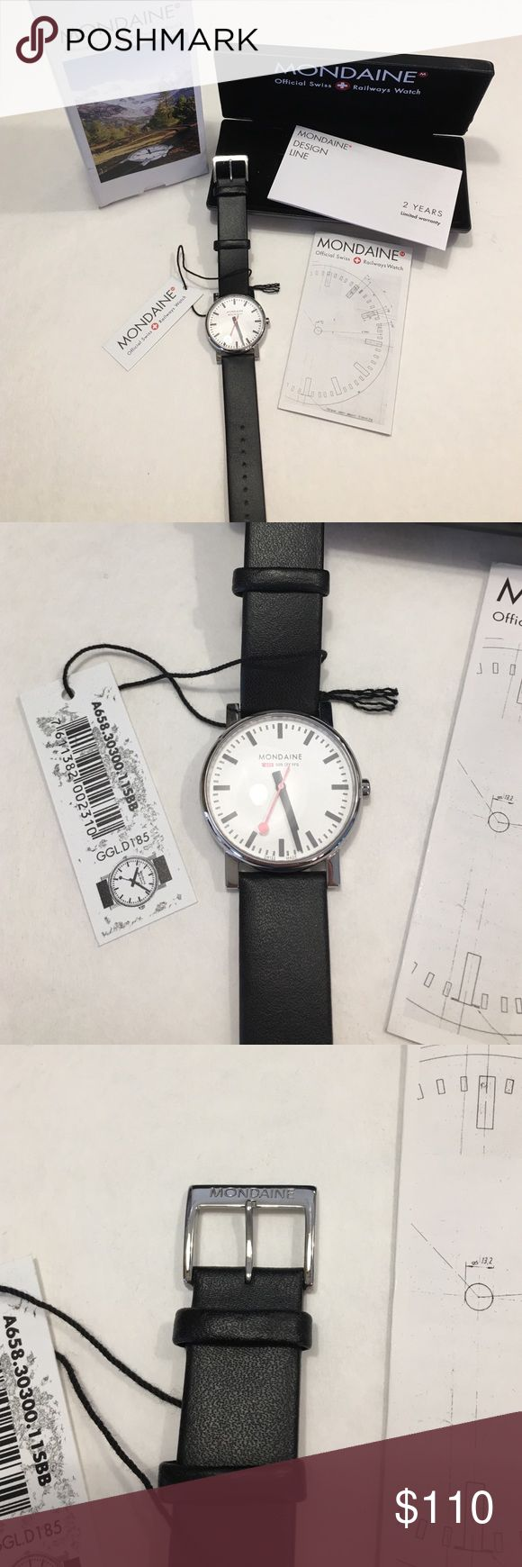 """Mondaine Unisex Swiss Railways Watch NWT Brand new in box. Watch still has back plastic covering and tag. Comes in case with inserts and original box. Needs a new battery. The face is approx 1"""" diameter. Strap is 8 1/4"""" long. Will fit 5 3/4"""" to 8"""" wrist. Mondaine Accessories Watches"""