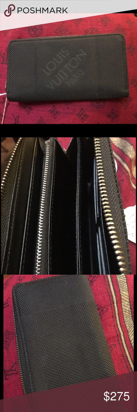 Authentic LVuitton black unisex canvas wallet Real Louis Vuitton blk canvas envelope wallet Louis Vuitton Accessories