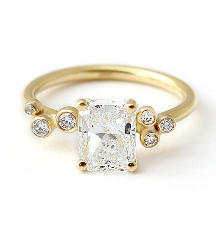 Two Carat Diamond Engagement Ring, Unique Shape Diamond Ring, Cluster Engagement Ring, Asymmetric Diamond Ring, Modern Ring, 18k Gold Ring by artemer on Etsy https://www.etsy.com/listing/492859760/two-carat-diamond-engagement-ring-unique