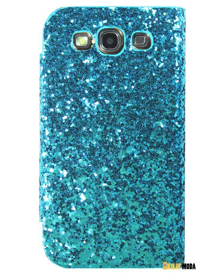 Kingpad S.N.E Serisi Samsung Galaxy A3 Cüzdanlı Mavi Taşlı Kılıf