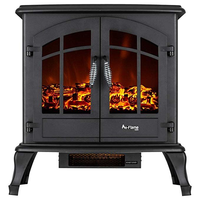 E Flame Usa Jasper Portable Electric Fireplace Stove Matte Black This 23 Inch Tall Freestanding Free Standing Electric Fireplace Stove Fireplace Fireplace