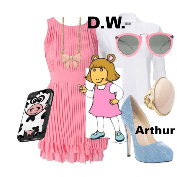 D.W. - Arthur by lilyelizajane on Polyvore featuring Lipsy, Wallis, Crisian & McCaffrey, River Island, Karen Walker, arthur, cartoons, 90s, pbs and d.w.