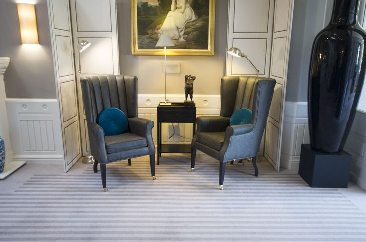 An elegant seating area in the magnificent St Elphin's house, fitted extensively with the 100% wool Cambridge Stripe range from Westex Carpets.