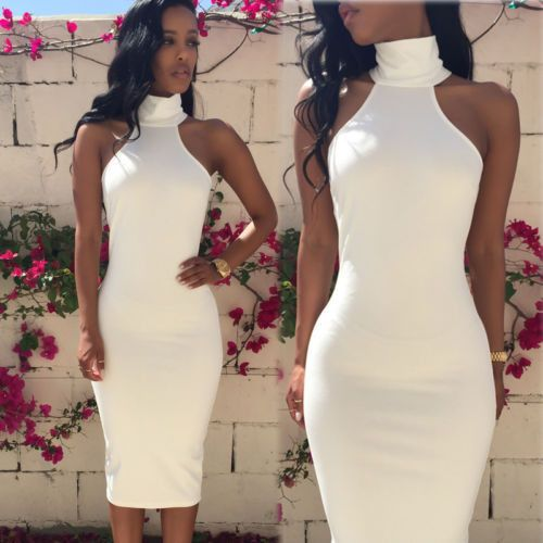 Summer Sexy New White Women Bodycon Sleveless Long Maxi dress Evening Party Dress