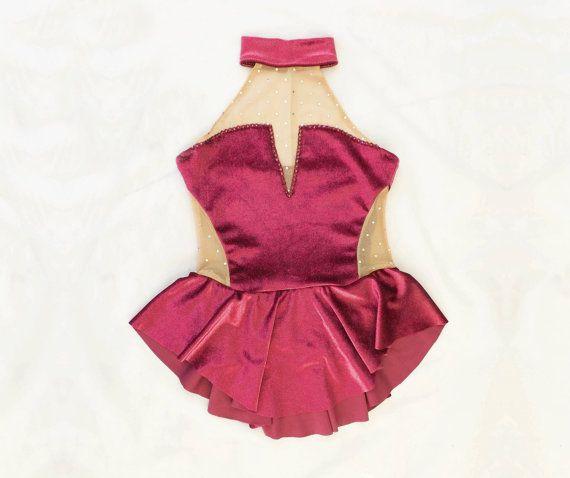 Body da Pattinaggio // Velluto rosso // Su di DentelleSportswear