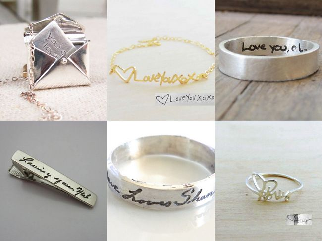14 Amazing Handwritten Jewelry Gift Ideas using Your Handwriting - or your husbands! A pendant or ring with a Handwritten Signature note to be loved forever